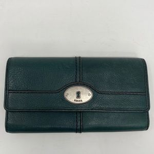 Fossil Green Leather Trifold Wallet